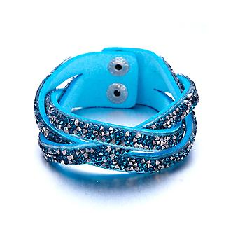 Striped bracelet crystals turquoise and silver Swarovski Elements and leather