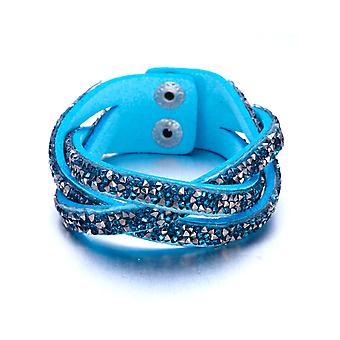 Stribet armbånd krystaller turkis og sølv Swarovski elementer og læder