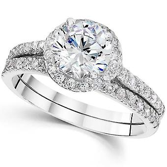2 1/2 Carat Halo Round Enhanced Diamond Engagement Ring Matching Wedding Band Set