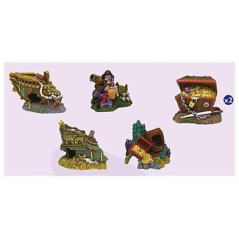 Agrobiothers Display 6 Figurines Aqua Pirates (Fish , Decoration , Ornaments)