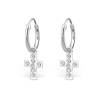 Cross - 925 argent Sterling oreille Hoops