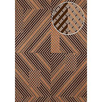 Graphic wallpaper ATLAS XPL-564-1 non-woven wallpaper structures with geometric forms shimmering silver anthracite grey dark grey copper 5.33 m2