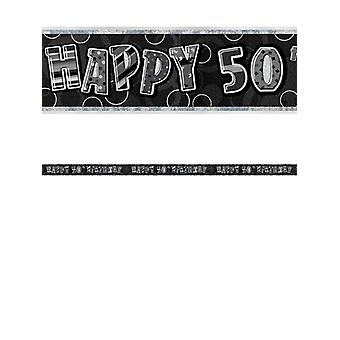 Verjaardag Glitz zwart & zilver 50e verjaardag Prism Banner