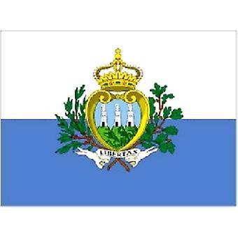 San Marino/Sanmarinesiske Flag 5 ft x 3 ft (100% Polyester) med snøreringe