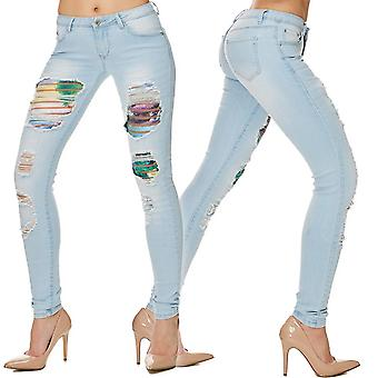 Ladies Jeans Slim pants skinny tube denim hipster jeans destroyed unicorn Unicorn hot