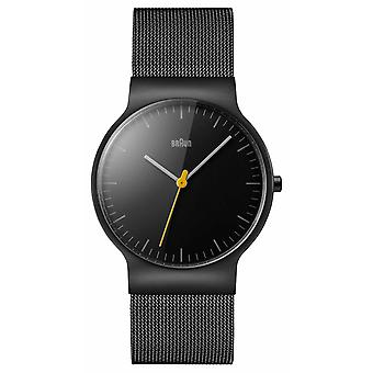 Braun Mens Black Mesh riem zwarte wijzerplaat BN0211BKMHG Watch