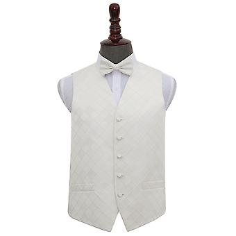 Ivory Diamond Wedding Waistcoat & Bow Tie Set
