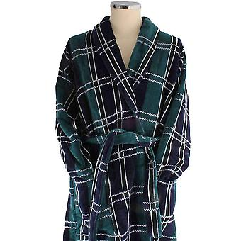 Bown of London Perth Egyptian Cotton Velour Dressing Gown - Navy/Green