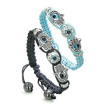 Magiske onde øjne beskyttelse kærlighed par eller bedste venner Hamsa hænder Amulet sæt sort blå armbånd
