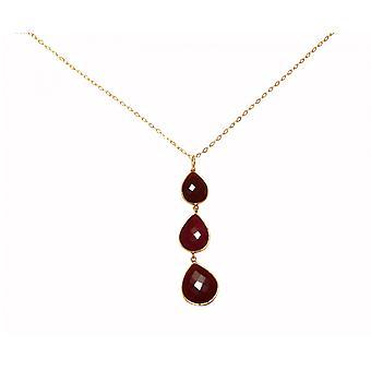 Gemshine - ladies - collana - ciondolo - argento 925 - oro placcato - CANDY - rosso - rubino - gocce - 9cm