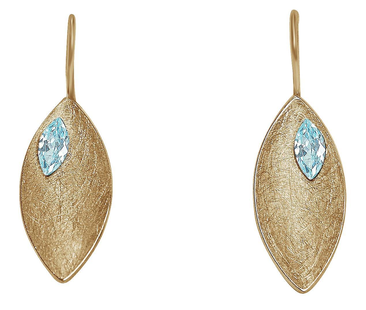 Gemshine - femmes - Ohrbaguee - boucles d'oreilles - 925 argent - Veroret - Marquise - Minimalistisch - Design - Topas - bleu - 3 cm