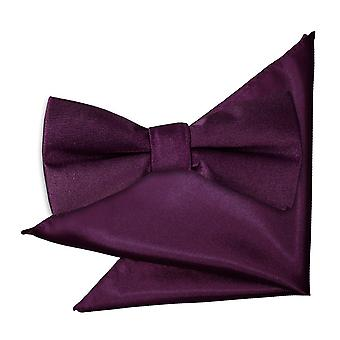 Pianura di Plum Satin Bow Tie & Pocket Square impostati per i ragazzi
