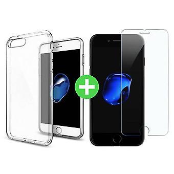Stuff Certified ® iPhone 7 Transparent TPU Case + Screen Protector Tempered Glass