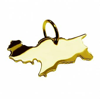 Trailers South Tyrol map pendants in massive 585 gold