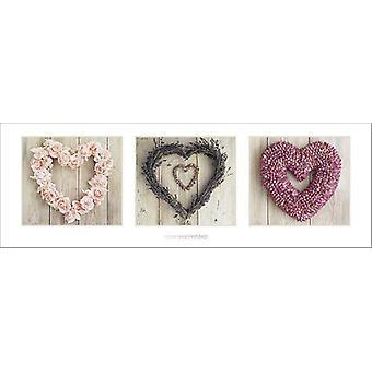Love Hearts Poster Howard Shooter Blumenherz Collage Kleinformat T�rposter