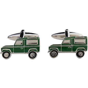 Zennor Farm Truck Cufflinks - Green/Silver