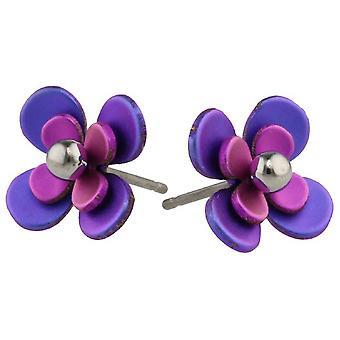 Ti2 titanio doble cuatro pétalos grano flor pendientes del perno prisionero - rosa