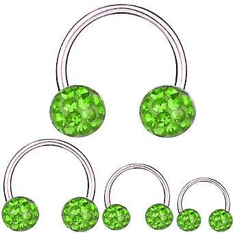 Circular Barbell Hufeisen Titan 1,6 mm, Multi Kristall Kugel grün | 8 - 16 mm