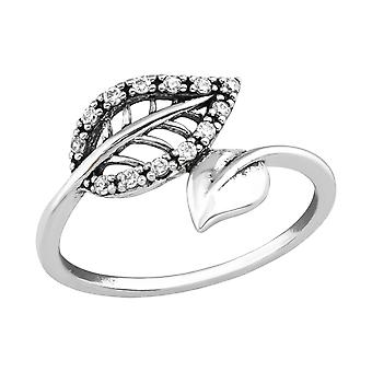 Leaf - 925 Sterling Silver Jewelled Rings - W36763x