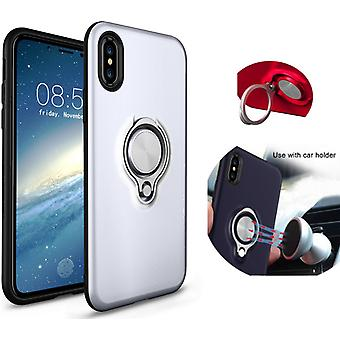 Colorfone iPhone X/Xs Case Silver Shells with Ring and metal plate