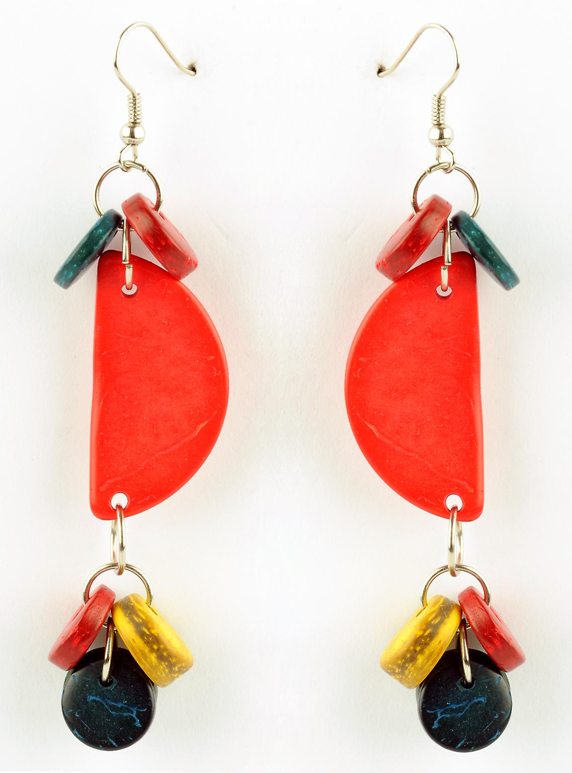 Waooh - Fashion Jewellery - WJ0786 - of Wood Earrings Coco Red Blue Green Yellow - Metal Frame Colour
