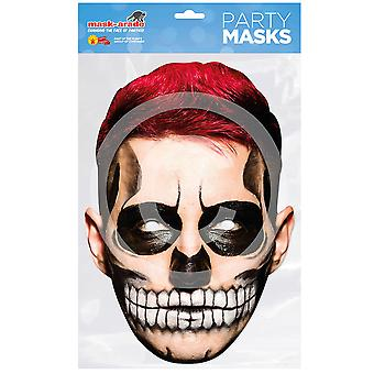 Day of the Dead Card Mask Red Hair