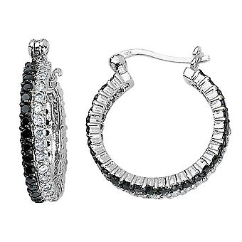 White and Black Synthetic Cubic Zirconia (CZ) (CZ) Hoop Earrings in Sterling Silver