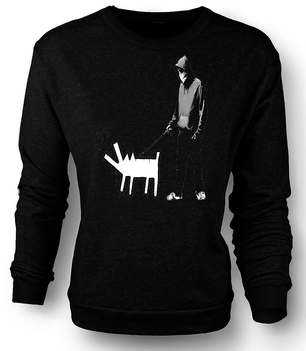 Perro camina Banksy sudadera para hombre