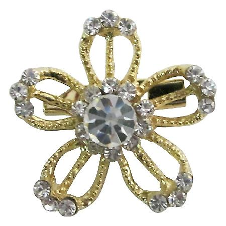 Dazzling Appealing Golden Flower Clear Rhinestones Gold Plated Brooch