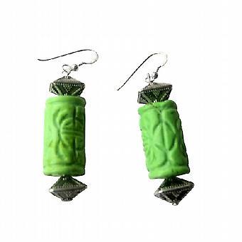 Gröna Turuquoise 20mm etniska ingraverat w / Bali pärlor örhängen
