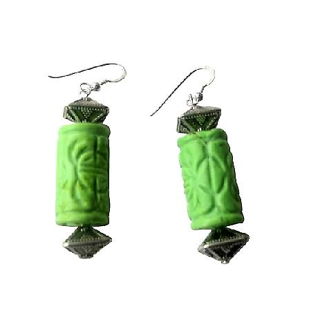 Green Turuquoise 20mm Ethnic Engraved w/ Bali Beads Earrings