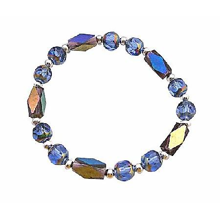 Glass Bead Rainbow Beads w/ Sparkling Geometrical Bicone Bead Bracelet