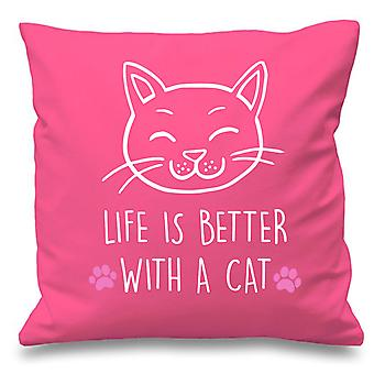 Pink Cushion Cover Life Is Better With A Cat 16