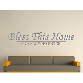 Bless This Home Wall Art Sticker - Silver