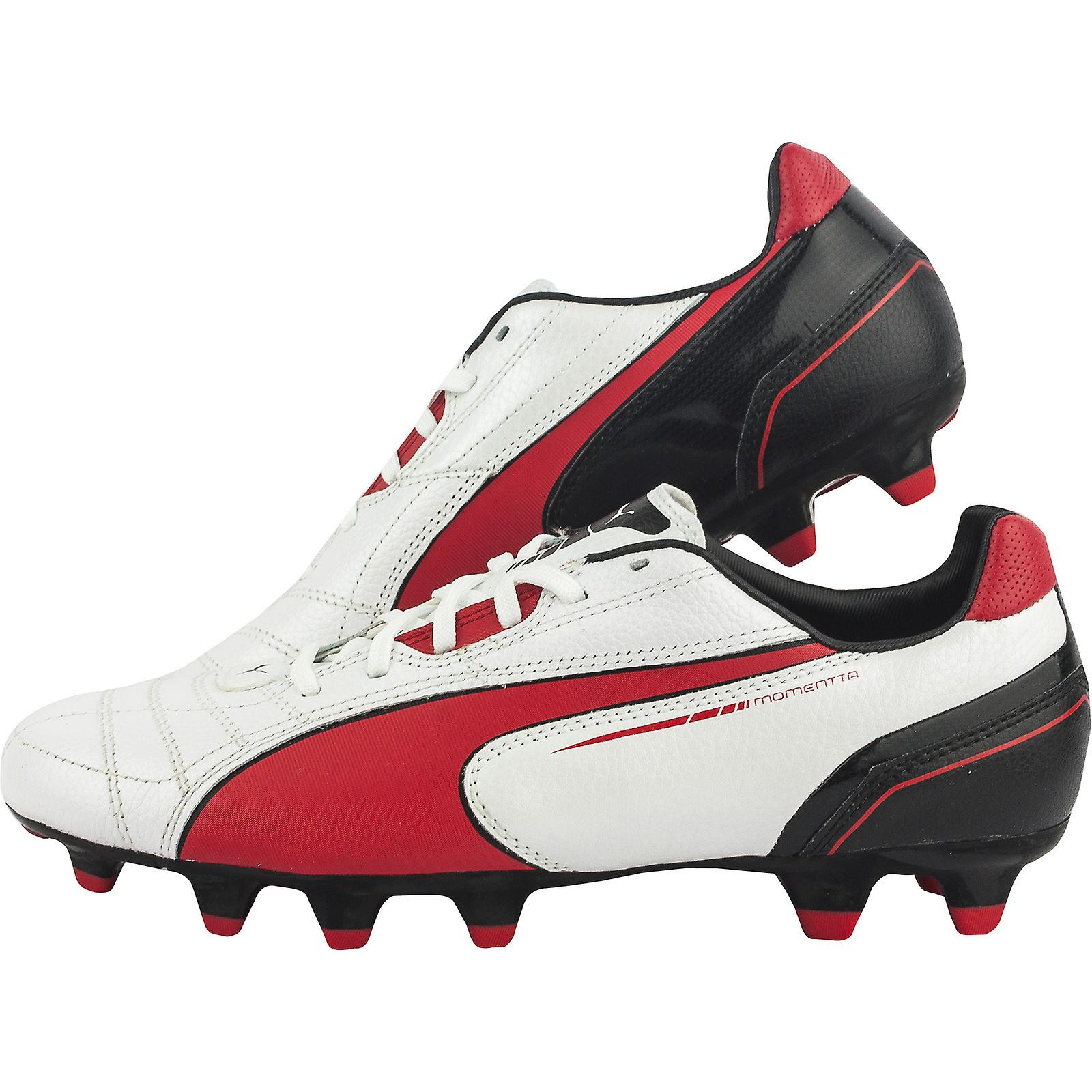 Puma Momentta FG Football Boots (White-Red-Black)