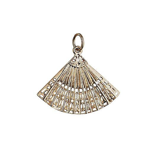9ct Gold 23x30mm Hand Fan Pendant or Charm