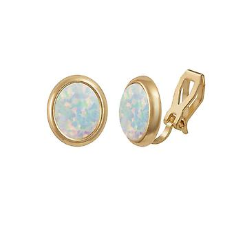 Eternal Collection Minuet White Opal Gold Tone Stud Clip On Earrings (MM)