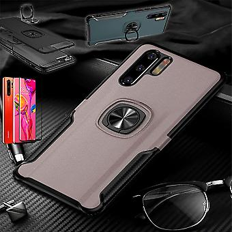 Für Huawei P30 Pro Magnet Metall Ring Hybrid Case Pink Tasche Hülle Cover Etuis + 4D Curved Hart Glas