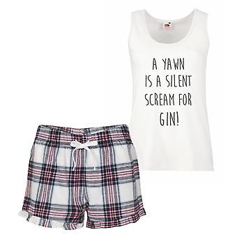 A Yawn Is A Silent Scream For Gin Pink Tartan Pyjamas