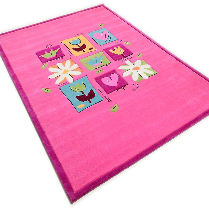 Rugs - Children\'s Floral Centre - Pink - 3658