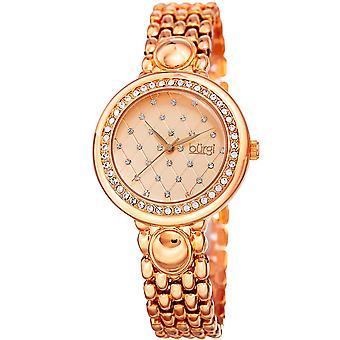 Burgi Women's BUR170 Swarovski Crystal Bezel Argyle Engraved Bracelet Watch BUR170RG
