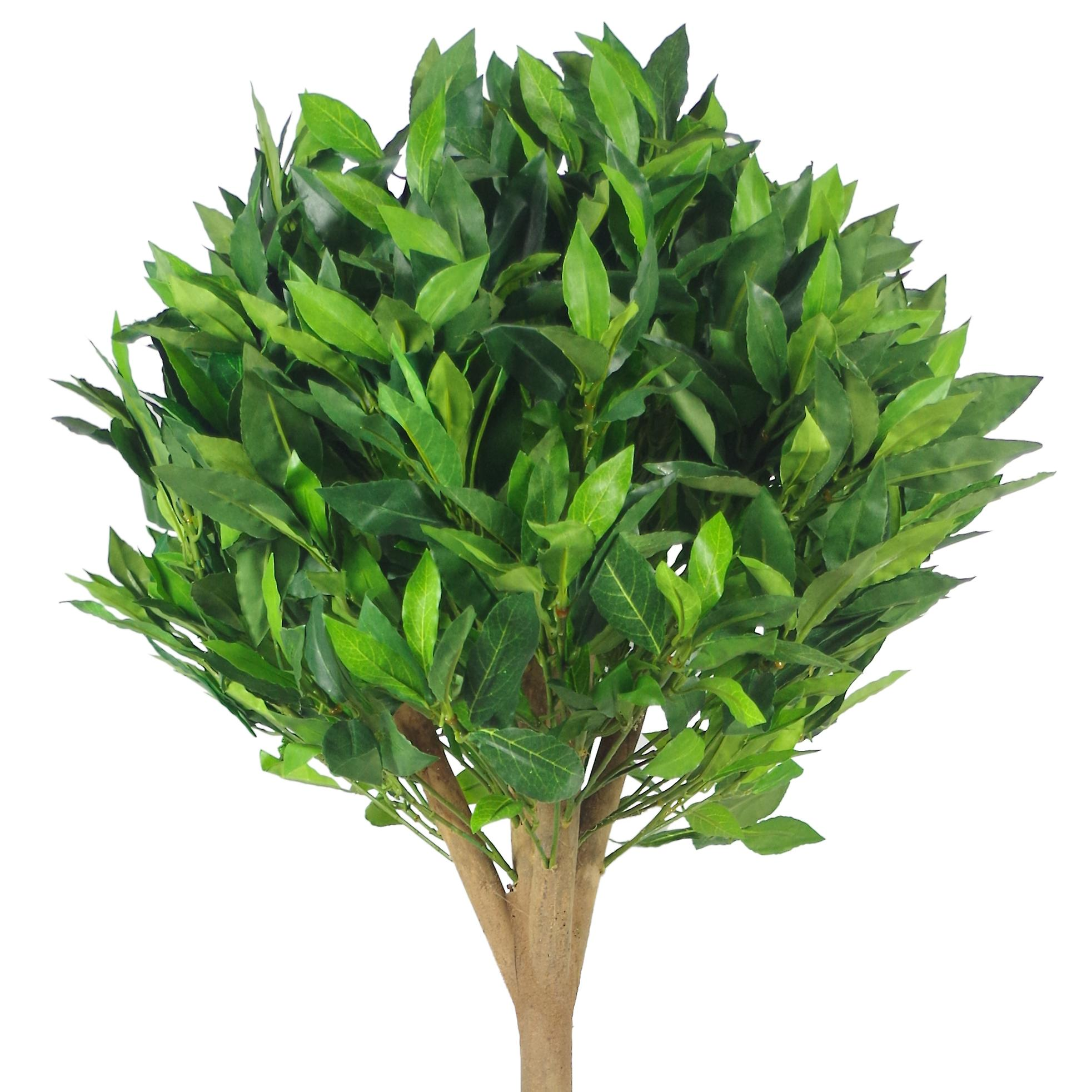 Pair of 120cm (4ft) Tall Luxury Deluxe Artificial Bay Leaf Laurel Trees Topiary Ball