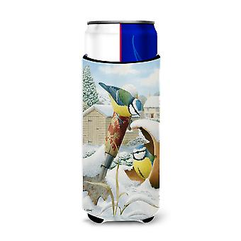 Eurasian Blue Tits Birds in Flower Pot Ultra Beverage Insulators for slim cans