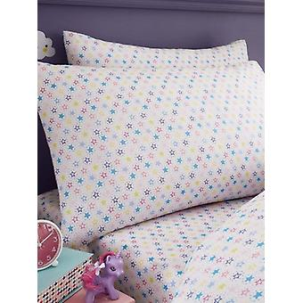 Colourful Stars Single Fitted Sheet and Pillowcase Set