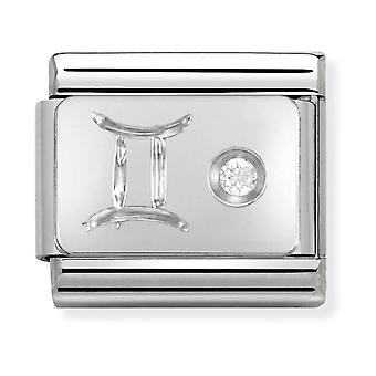 Nomination Classic Gemini Zodiac Steel, CZ and 925 Silver Link Charm 330302/03