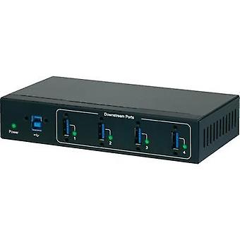 4 ports USB 3.0 hub meets industrial requirements, wall mount option Renkforce
