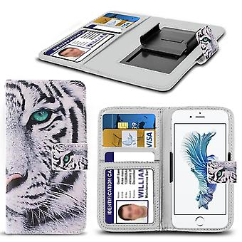 i-Tronixs Samsung Galaxy J3 Pro Case PU Leather White Tiger Printed Design Pattern Wallet Clamp Style Spring Skin Cover- White Tiger