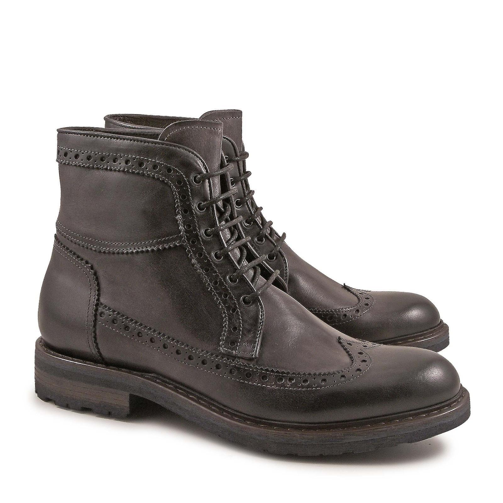 Handmade wingtip stivali for men in grigio calf leather | Per La Vostra Selezione  | Uomo/Donna Scarpa