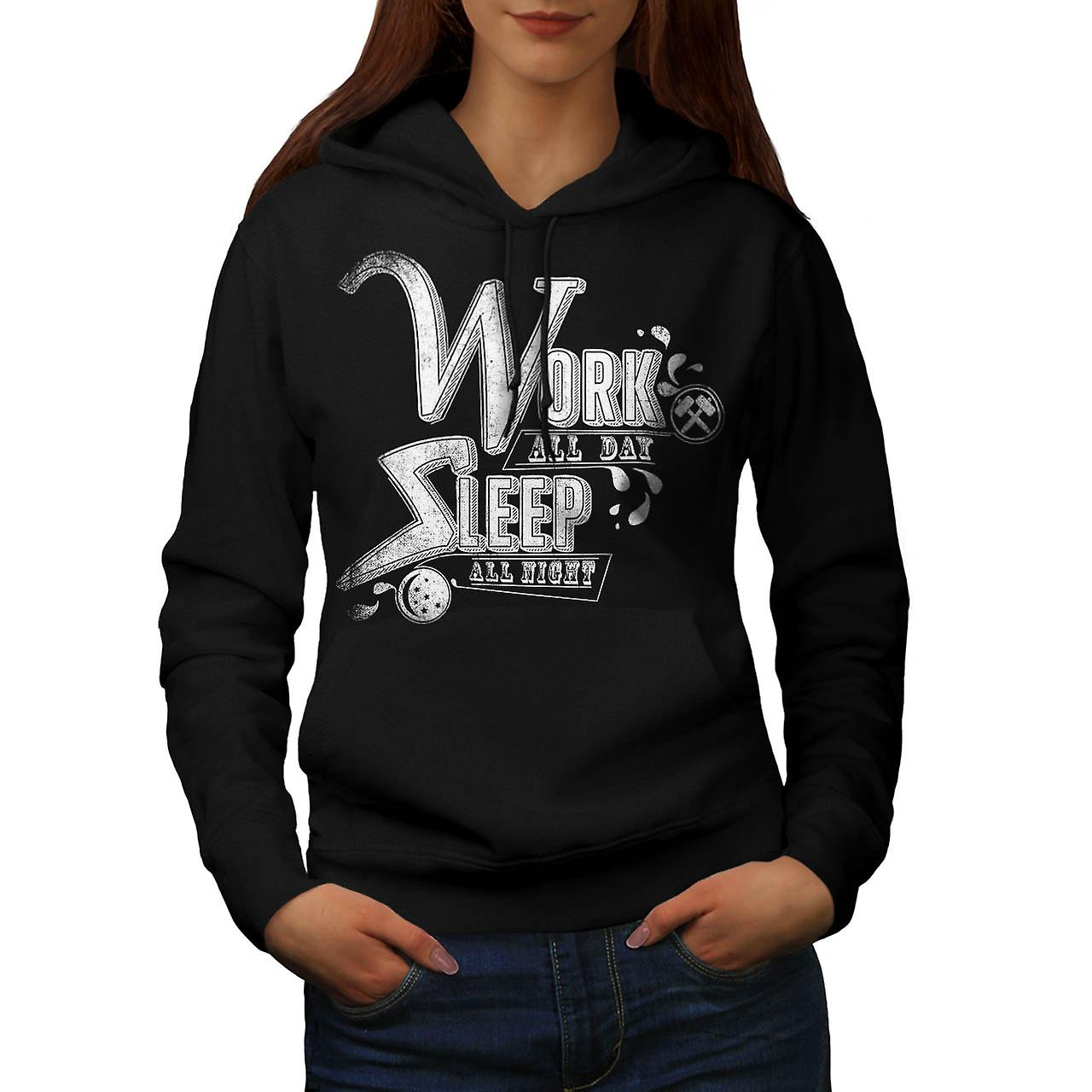 Work Day Sleep Night Movie Quote Women Black Hoodie | Wellcoda