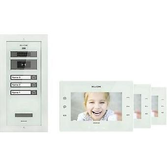 Video door intercom Corded Complete kit Bellcome KIT.VPA.3F002.BLW 3 flat building White